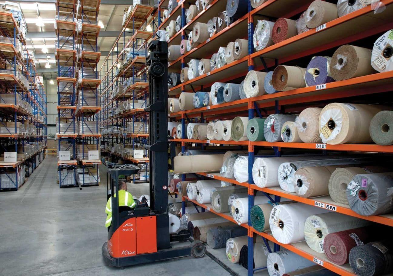 Redirack Carpet Racks utilising specialist trucks in Lansdon Warehouse