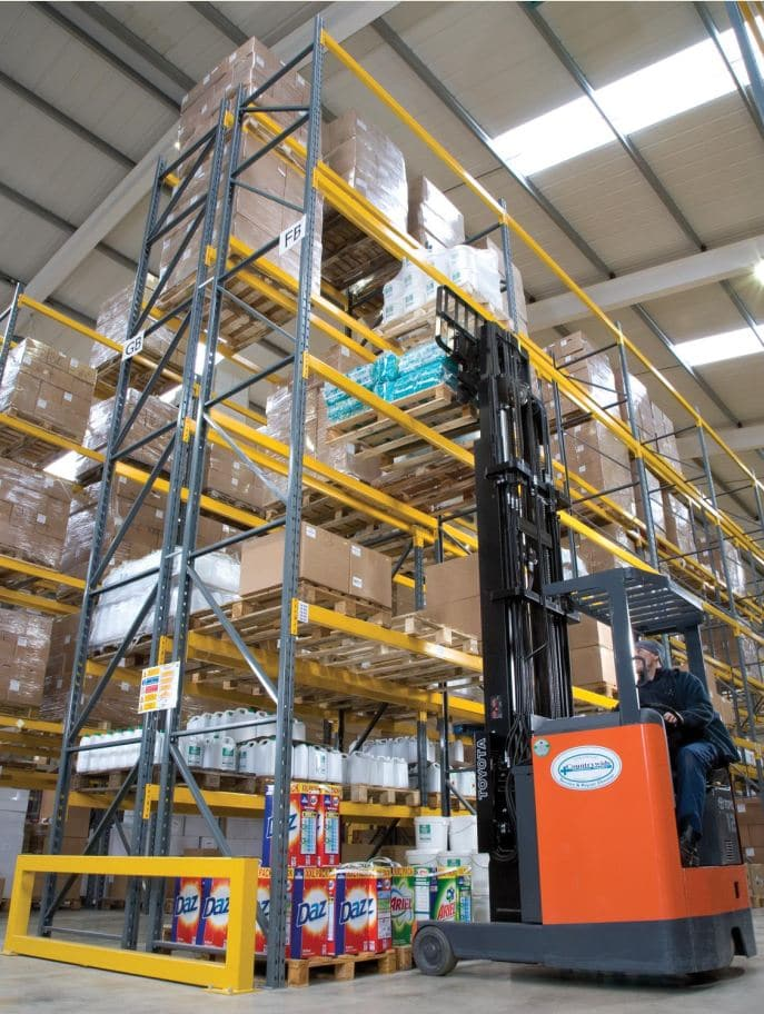 Redirack Wide Aisle Pallet Racks offer 100% selectivity in any warehouse