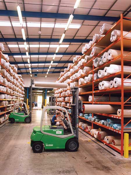 Redirack offer specialist Carpet Pallet Racking solutions to the UK Textile Industry