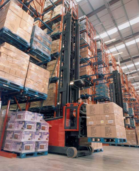 Specialist trucks operating alongside Redirack Very Narrow Aisle Pallet Racking