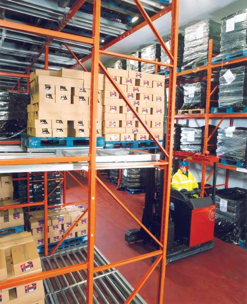 Redirack Push-Back Pallet Racking in George Adams cold store warehouse