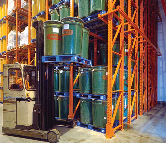 Drive-In Pallet Racking operates a first pallet in last pallet out operating system