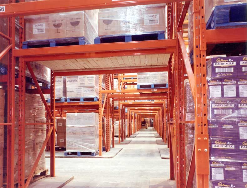 Redirack Narrow Aisle Pallet Racking in Cadburys Warehouse