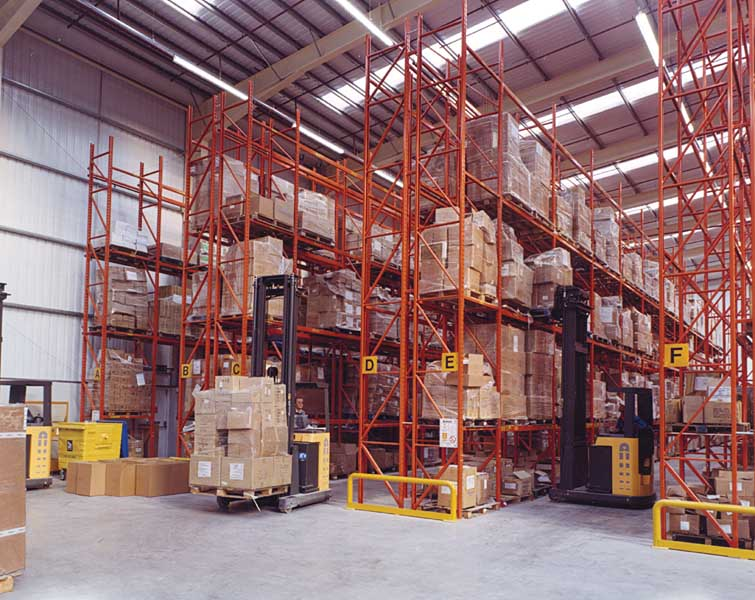 stacking boxes in a warehouse