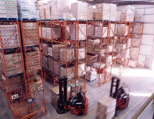 pallets being moved around a warehouse