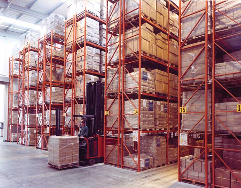 Redirack Narrow Aisle Pallet Racks installed in Keenpac warehouse