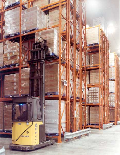 Double Deep Racking utilises one row of standard Pallet Racking behind another