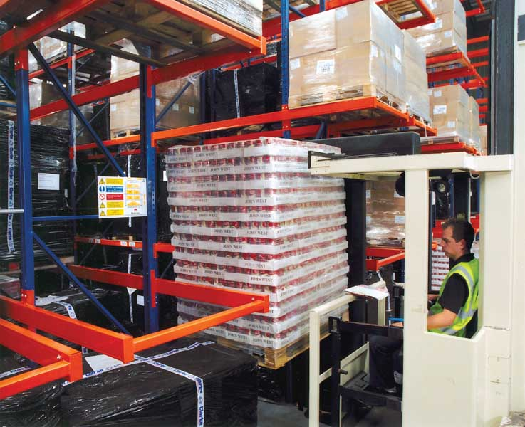Food manufacturers Lockwood install Redirack Narrow Aisle Pallet Racks in Distribution Warehouse