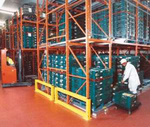 Pallet Racking Protection Barriers are Powder Coated or Galvanised